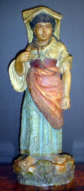 STRIKING TERRA COTTA STATUE OF YOUNG MAIDEN 30172