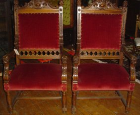 PR ARM CHAIRS W/GRIFFIN ARMS AND MAN HEADS 3060