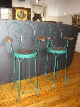 PR GREEN PTD IRON ICECREAM PARLOR CHAIRS W/OAK 1613
