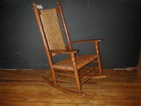 CRACKER BARREL OAK & WICKER ROCKING CHAIR (1689)