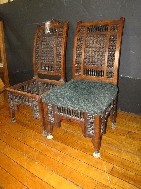 PR OF INTRICATE MOORISH SIDE CHAIRS (1625)