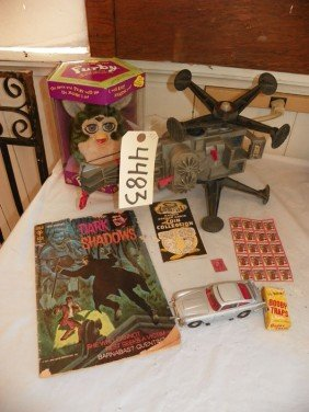 LOT OF OLD TOYS, STAMPS AND COMIC BOOK 4483