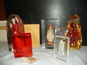 7 LUCITE RELIGIOUS FIGURES OF SAINTS JESUS ETC 4410