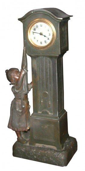MINI TALL CASE CLOCK  GIRL REACHING FOR CLOCK 4110
