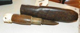 HANDMADE BUFFALO SKINNING KNIFE W/ IVORY SKULL 1872