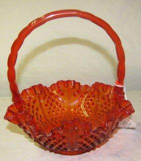 ORANGE HOBNAIL ART GLASS BASKET W/ HANDLE (3493F)