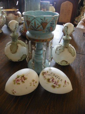 5PC GLASS LOT- EGGS, LUSTER & DECANTERS 2381