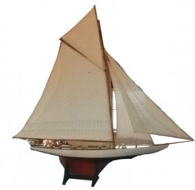 OVERSIZE MODEL SAILBOAT WITH ORIGINAL SAILS  1590