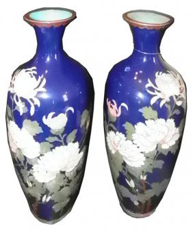PR BLUE CLOISSONE VASES W/PINK AND WHITE MUMS 1586