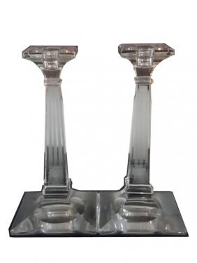 PAIR OF HEISEY ETCHED CRYSTAL CANDLESTICKS 4630