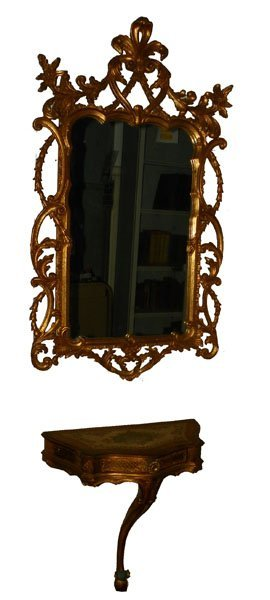 LOVELY GILT WOOD MIRROR AND CONSOLE TABLE 4731