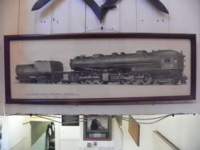 FRAMED PRINT OF1930S SOUTHERN LINES LOCOMOTIVE 4709