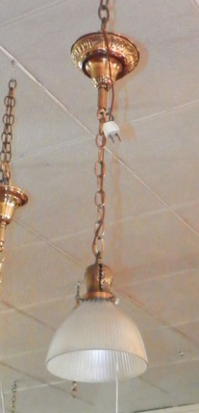 BRASS PENDULUM LIGHT WITH HOLOPHANE SHADE 4690