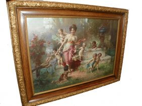 FRAMED PRINT OF VICTORIAN MAIDEN IN GARDEN 1519