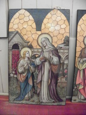 HAND PAINTED RELIGIOUS GLASS SCENE OF SAINT 15761B