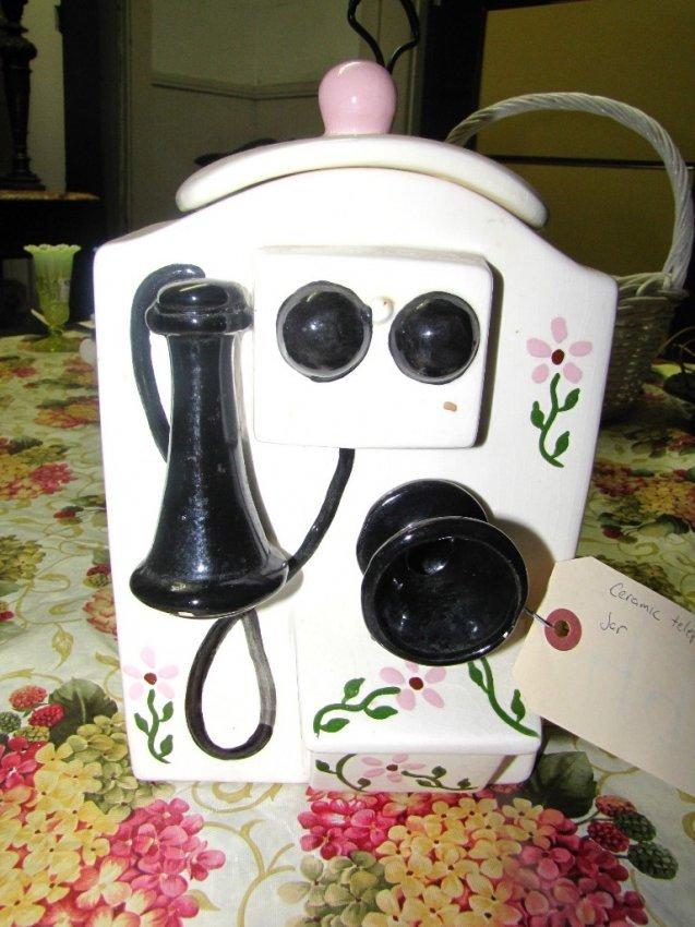 7 Ceramic Cookie Jar Shaped Likevintage Telephone 4947