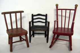 Three Pieces Of Doll Furniture. Two Doll Chairs And A D