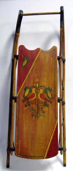 Victorian Child's Sled. Wooden, Repainted And Decorated