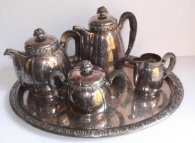5 Piece Silver Plate Tea Set