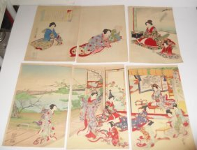 2 Sets Japanese Triptych Woodblock Prints