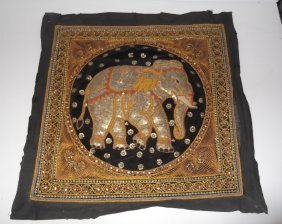 Embroidered Indian Elephant Tapestry With Sequins