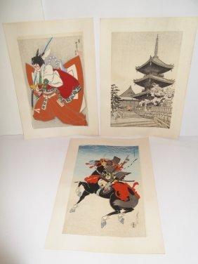 3 Japanese Woodblock Prints By Sadanobu Hasegawa
