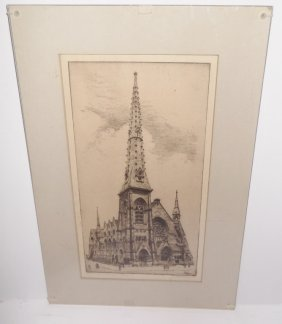 Church Scene Etching Signed Edith Nankivell