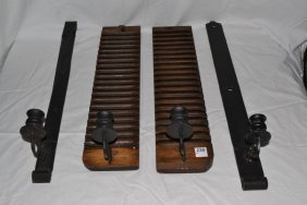 Candle Sconces Made From Cigar Mold And Iron Hinges