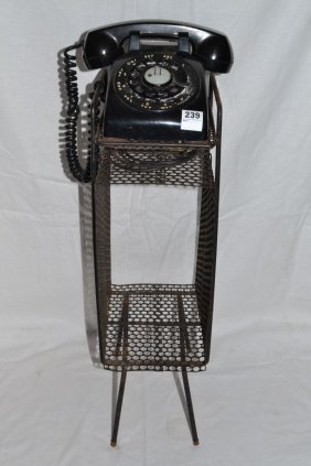 Circa 1955 Rotary Telephone And Metal Stand