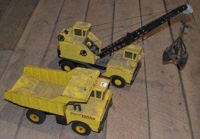 Tonka Dump Truck And Nylint Crane Truck