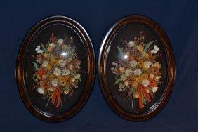 Two Oval Framed Convex Glass Straw Flower Arrangement