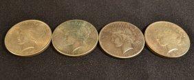 Four Peace Silver Dollars: 1923, 1925, 1926, 1927