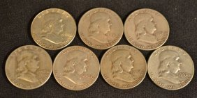 Seven Franklin Half Dollars: 1950, 2-1951, 3-1952,