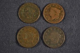 4 Coronet Liberty Head Large Cents: 1817, 1819, 1824,