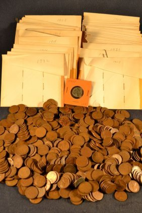 Approximately 650 Wheat Pennies Together With 35