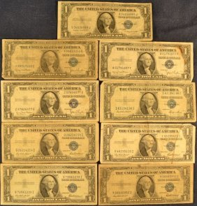 Nine Series 1935 $1 Silver Certificates