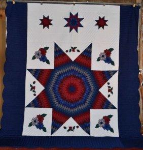 Amish Made Patchwork Quilt, Flower Star - Applique,