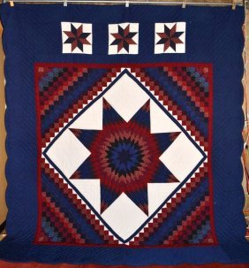 Amish Made Patchwork Quilt, Boston Star - Navy &