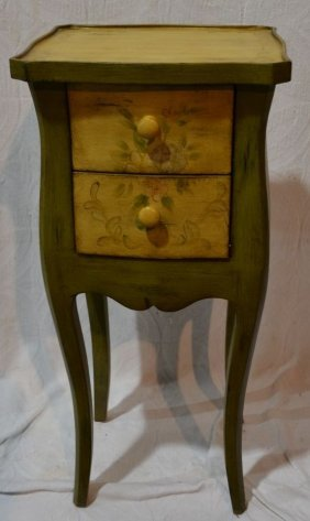 Stencil Decorated Wood Two Drawer Stand