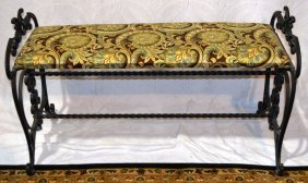 Decorative Wrought Iron And Upholstered Bench