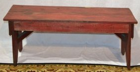 Old Painted Pine Wash Bench