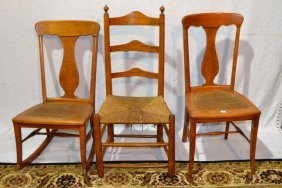 Three Chairs: Maple Rocker And Side Chair, Rush Seat