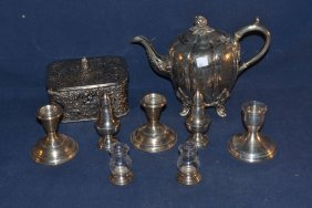 Collection Of Silver And Silver Plate Items: Tea Pot,