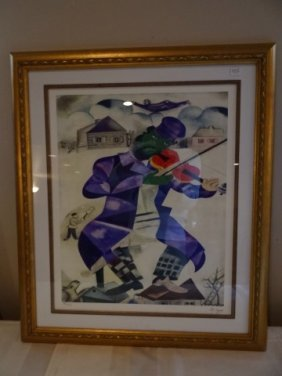 495 Marc Chagall Lithograph Fiddler On The Roof Lot 495