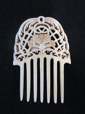 Oriental Carved Bone Hair Comb