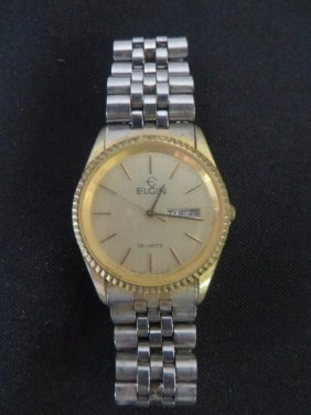 Elgin Date And Time Wristwatch