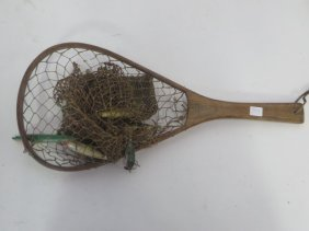Antique Wood Framed Net And Lures (7)