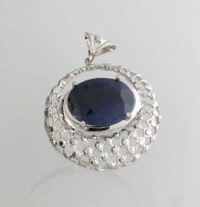 APP: 3k 29.29CT Blue Sapphire & Sterling Silver Pendant