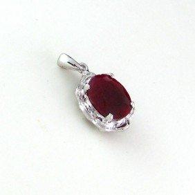 APP: 3k 4.03CT Ruby W/Diamond & Sterling Silver Pendant