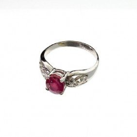 APP: 3.1k 2.24CT Ruby & Diamond Sterling Silver Ring